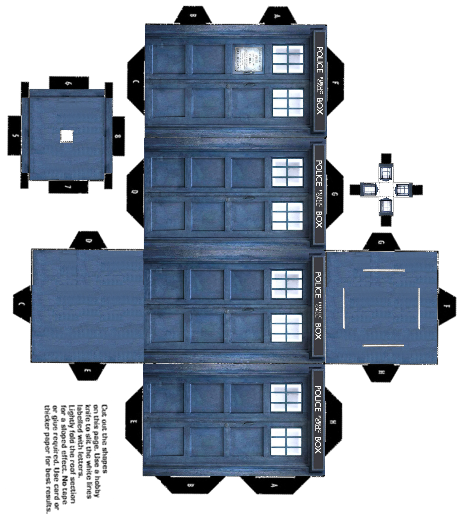 ... one at http://www.velofille.com/uploads/Printable-tardis-3d-color.png